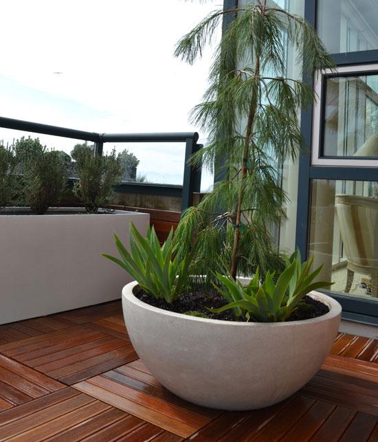 white-precast-planter