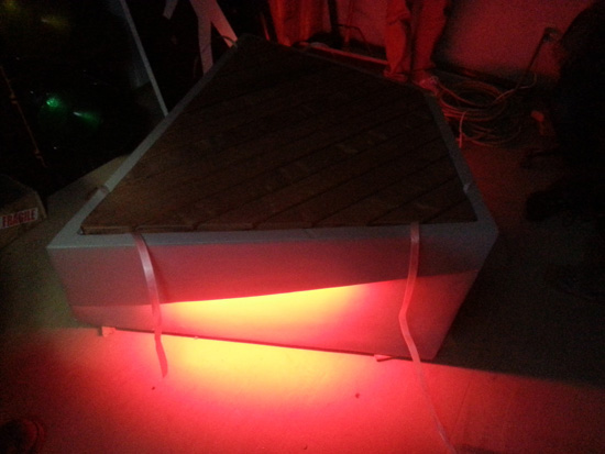 Quarters foam bench mockup with LED lights