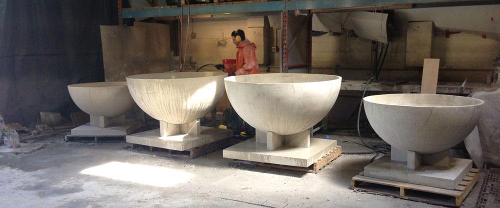 large concrete bowls