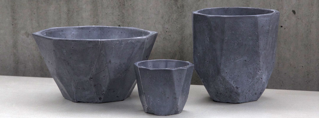 black ductal faceted pots