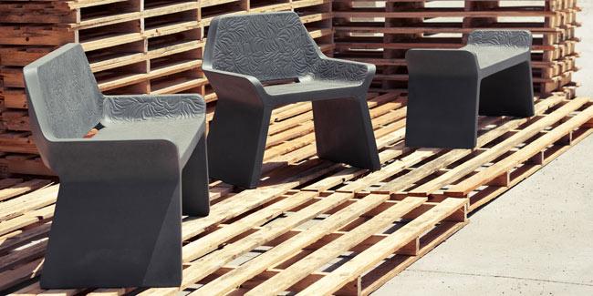 grey concrete modern bench