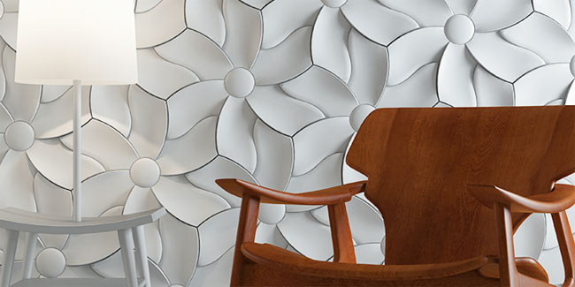 white 3d tiles with flower pattern
