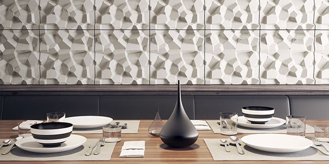 3d tiles installed in restaurant concrete