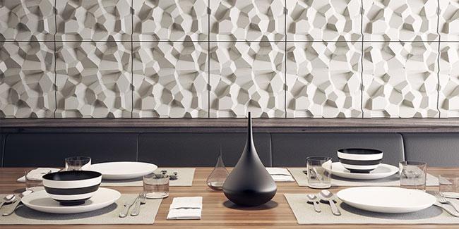 3d tiles installed in restaurant concrete
