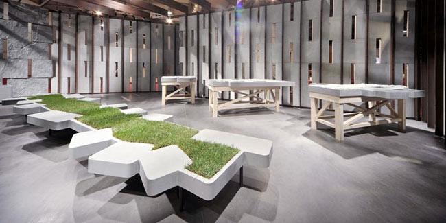 grass bench concrete