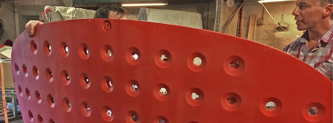 bright red concrete panel