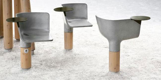 swivel chairs ductal public spaces